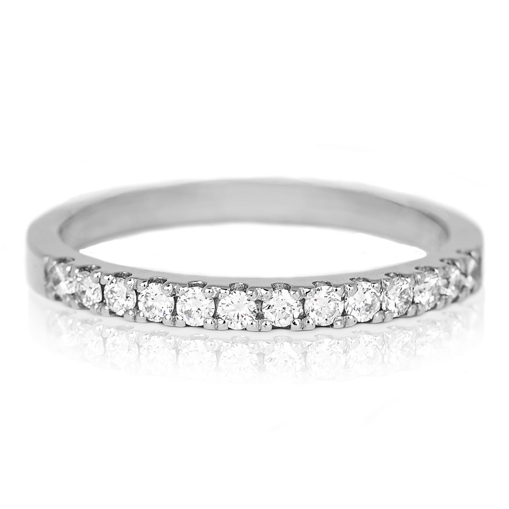 Jessica Jewellery white gold pavé-set half diamond ring.