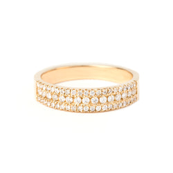 Triple Row Pavé Diamond Ring