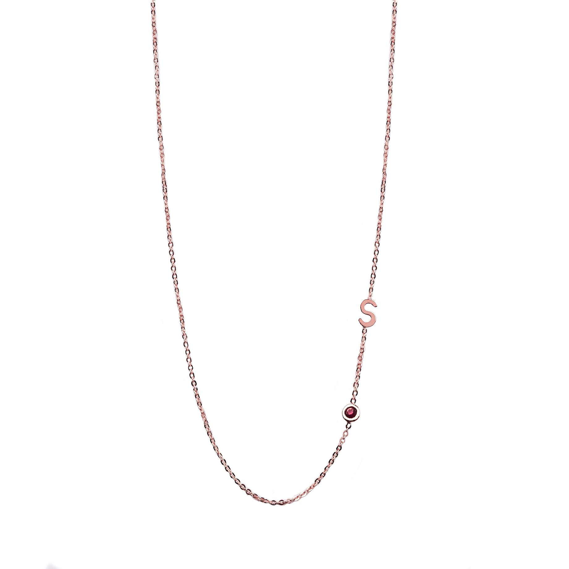 Birthstone and Initial Necklace