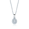 Jessica Jewellery white gold oval diamond cluster pendant necklace.