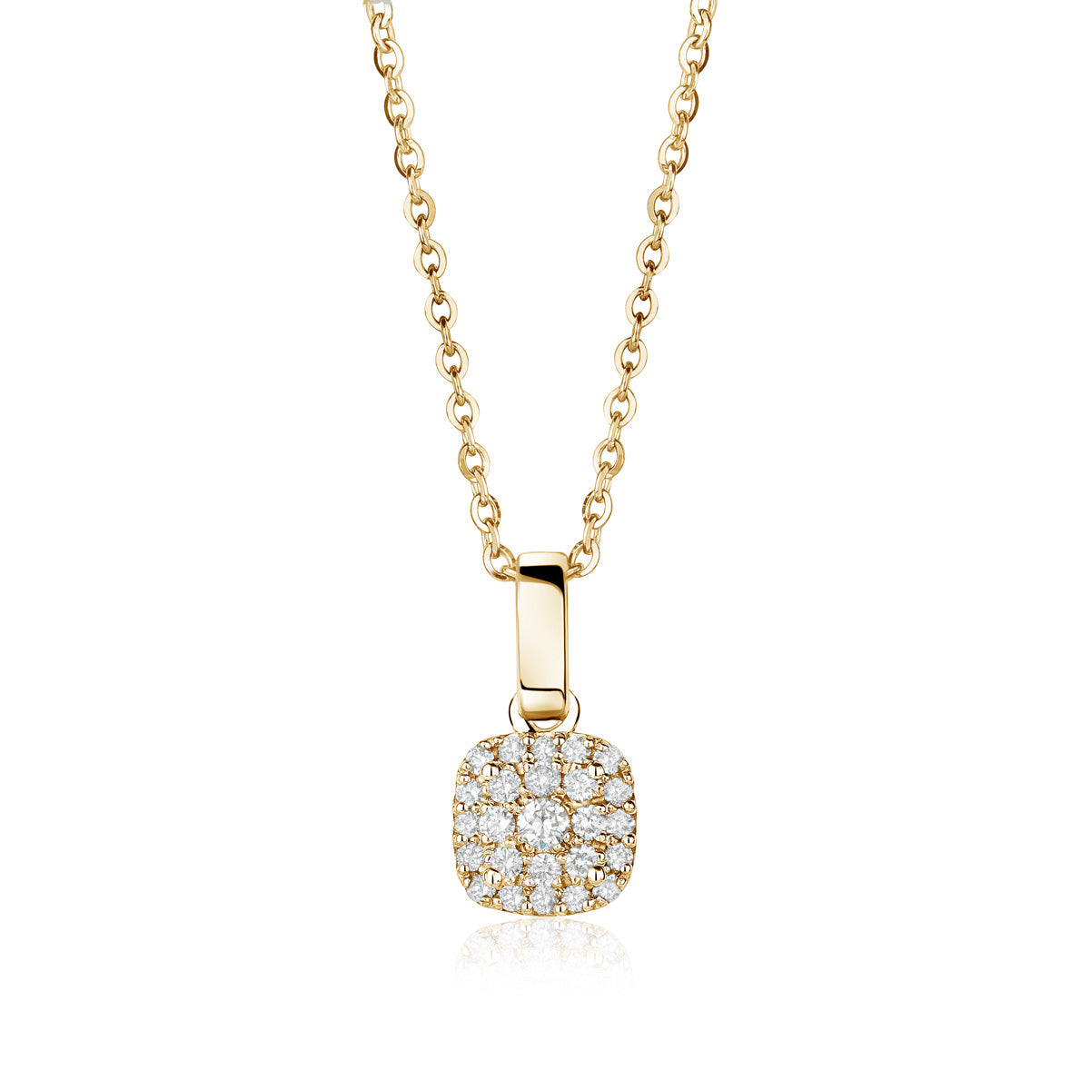 Yellow gold cushion cluster diamond pendant by Jessica Jewellery.