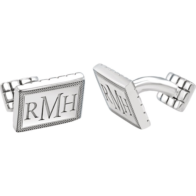 Rectangular Monogram Cuff Links