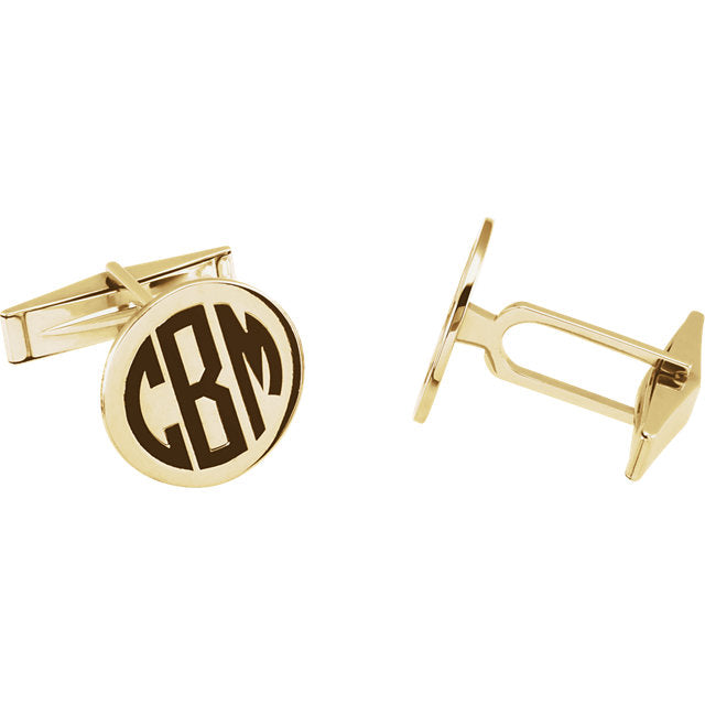 Round Gold Monogram Cuff Links