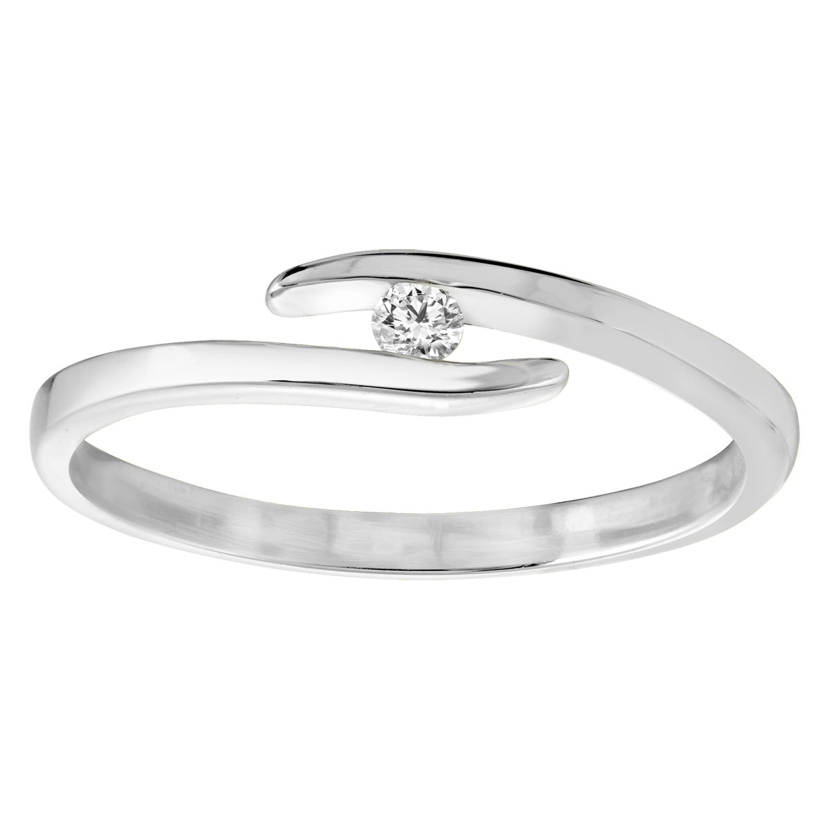 Jessica Jewellery white gold floating diamond ring.