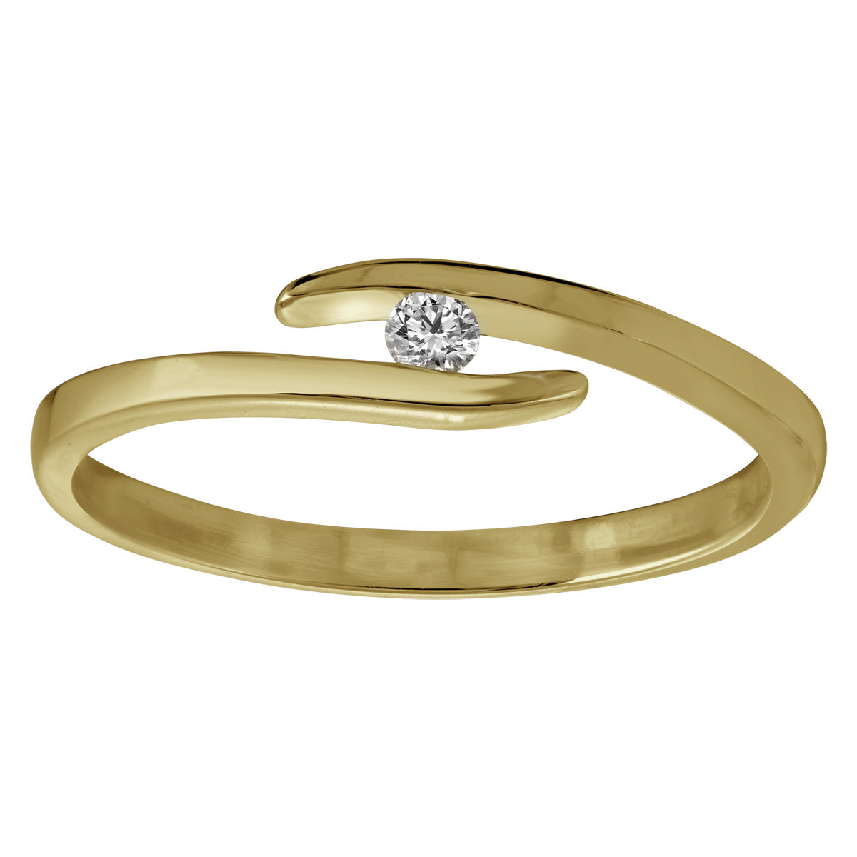 Jessica Jewellery yellow gold floating diamond ring.