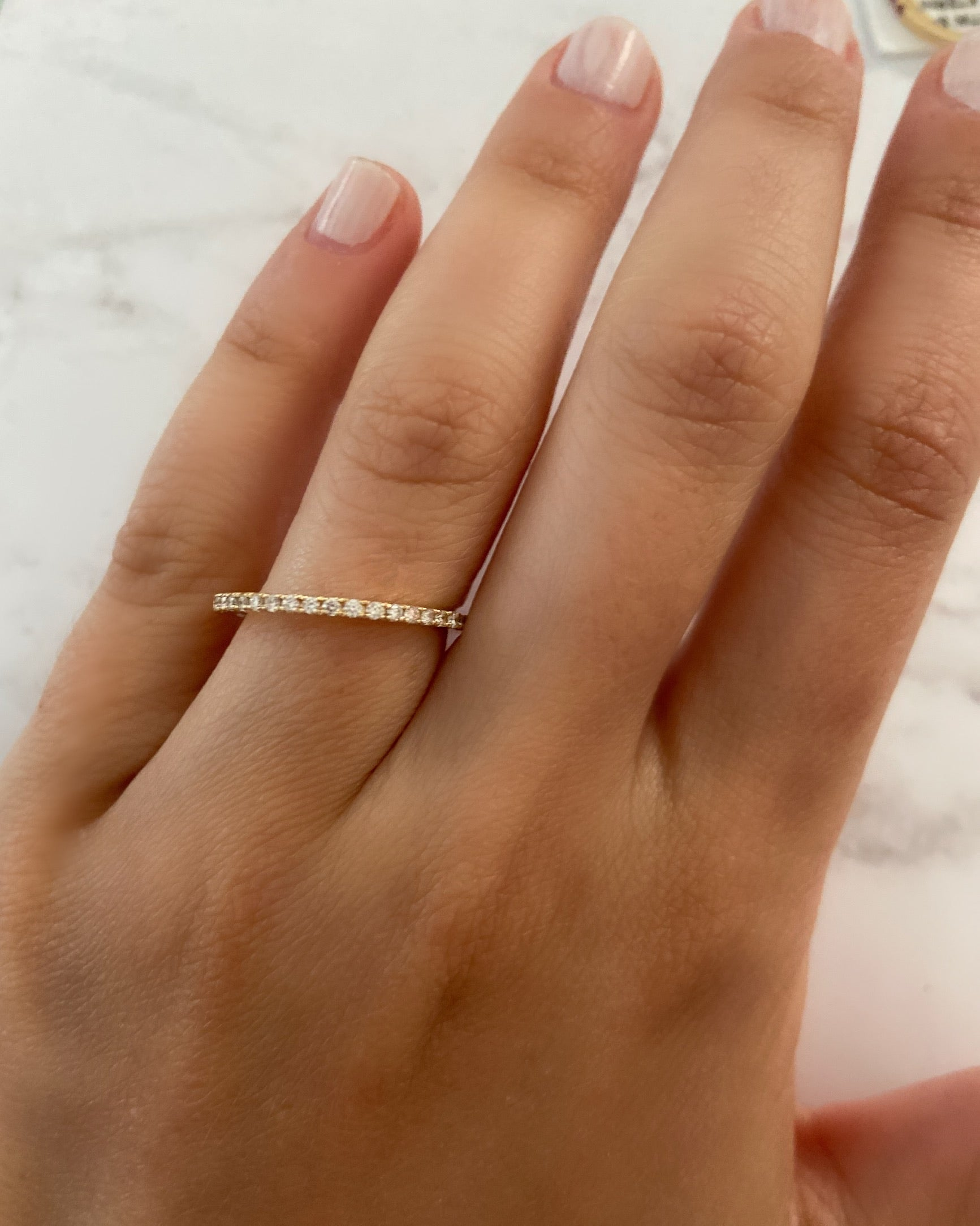 1.5mm Pavé-Set Half Diamond Ring