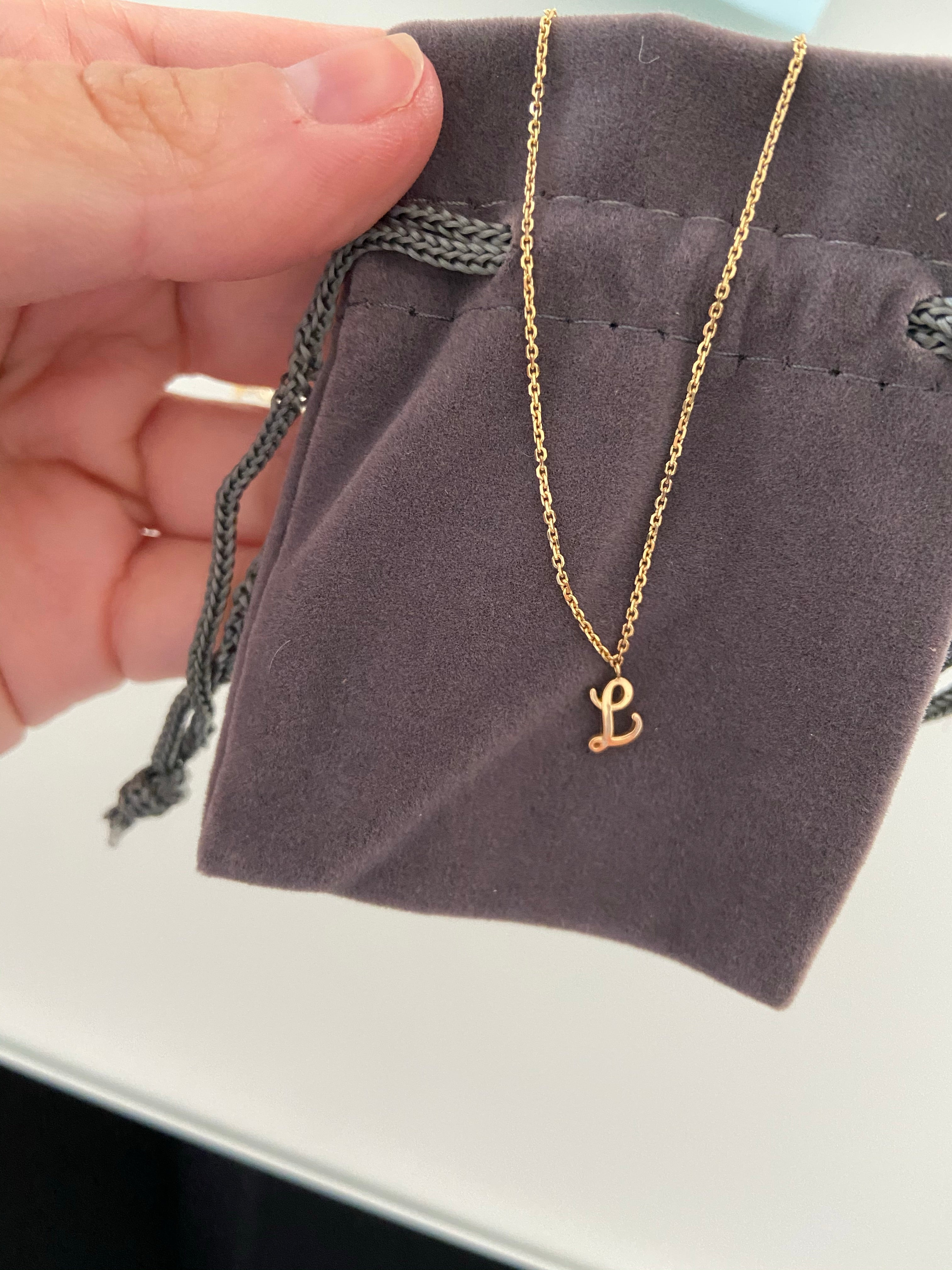 Dangling Script Initial Necklace