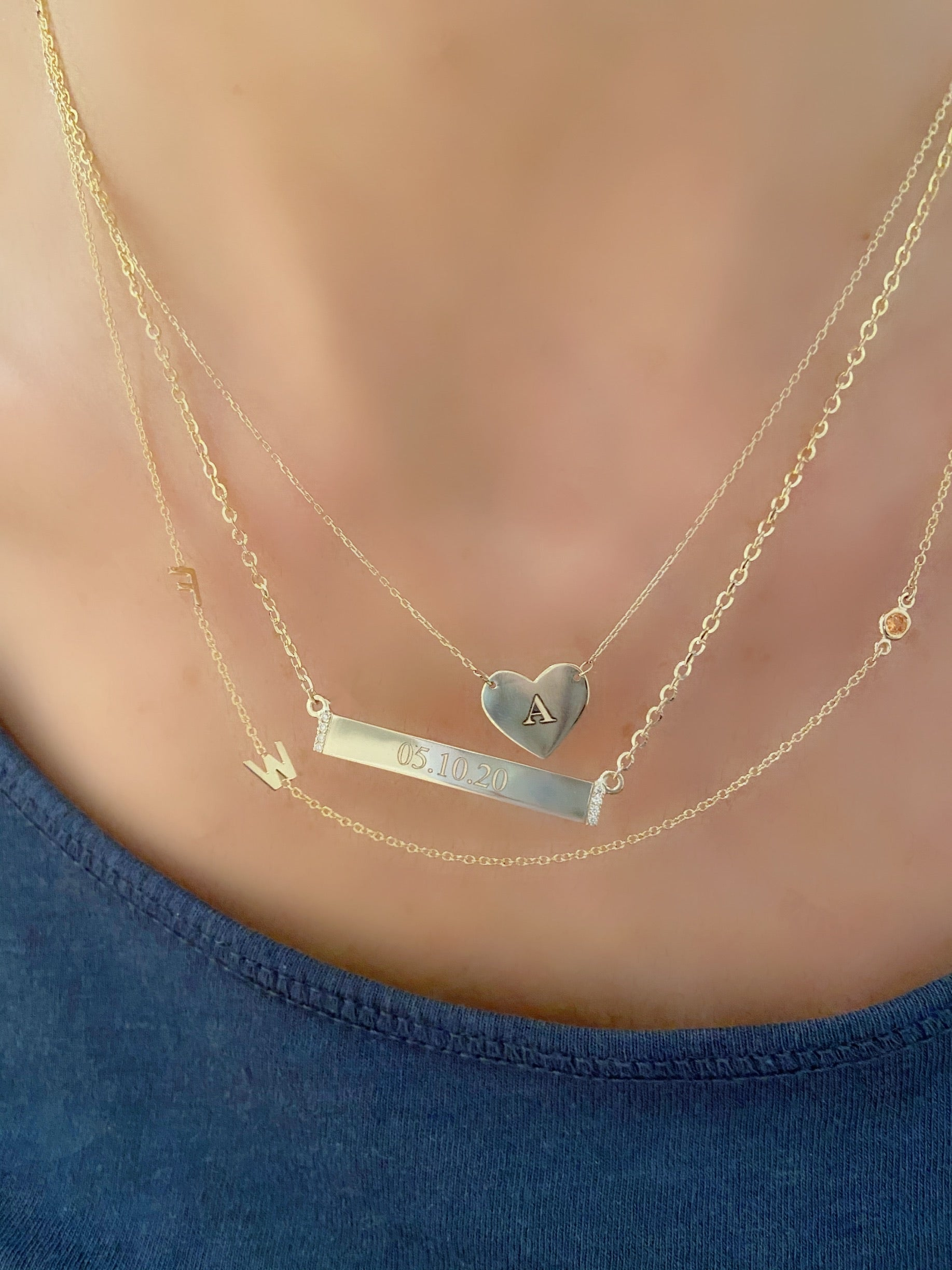 Engraved Diamond Nameplate Necklace