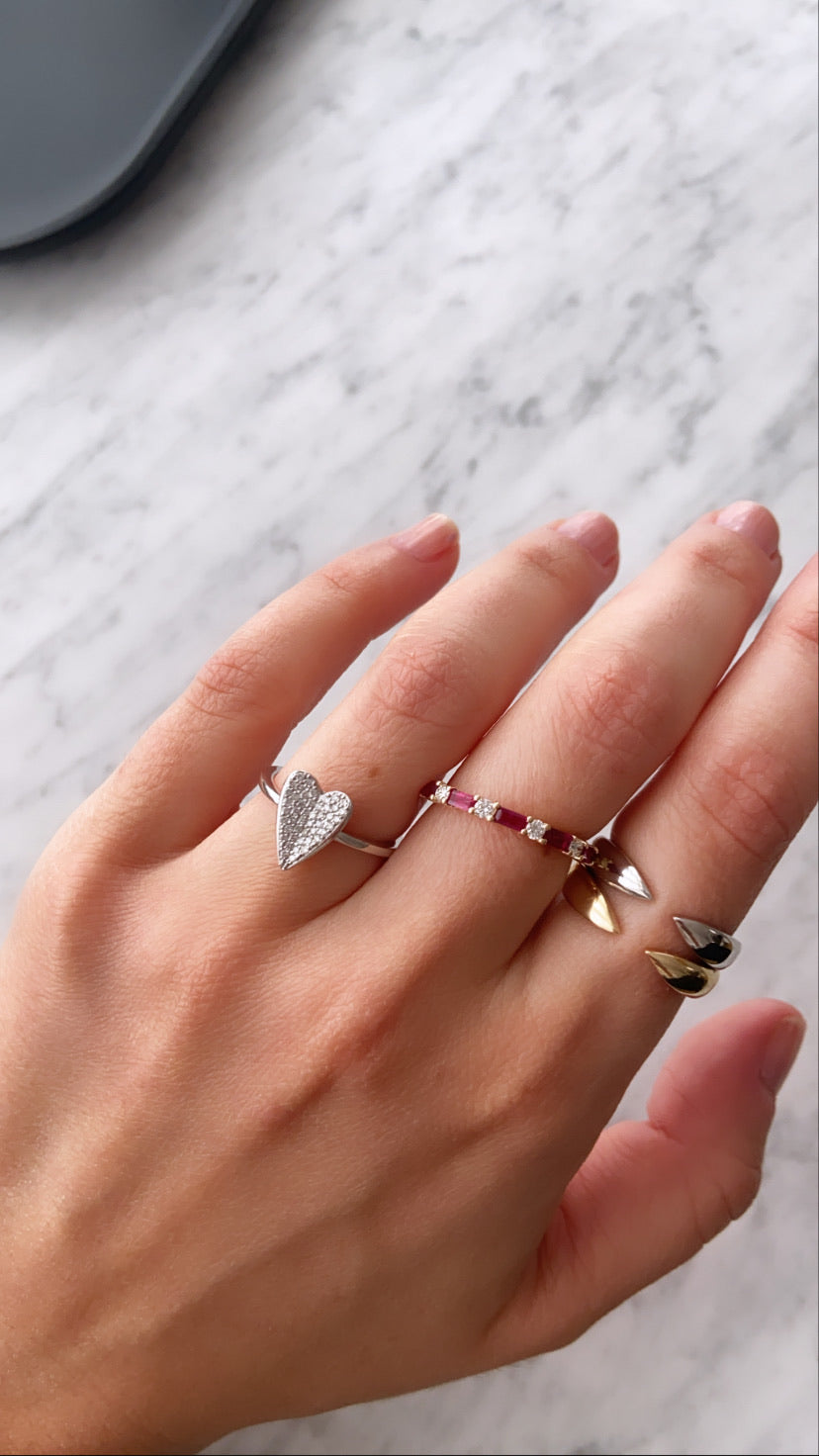 Elongated Diamond Heart Ring
