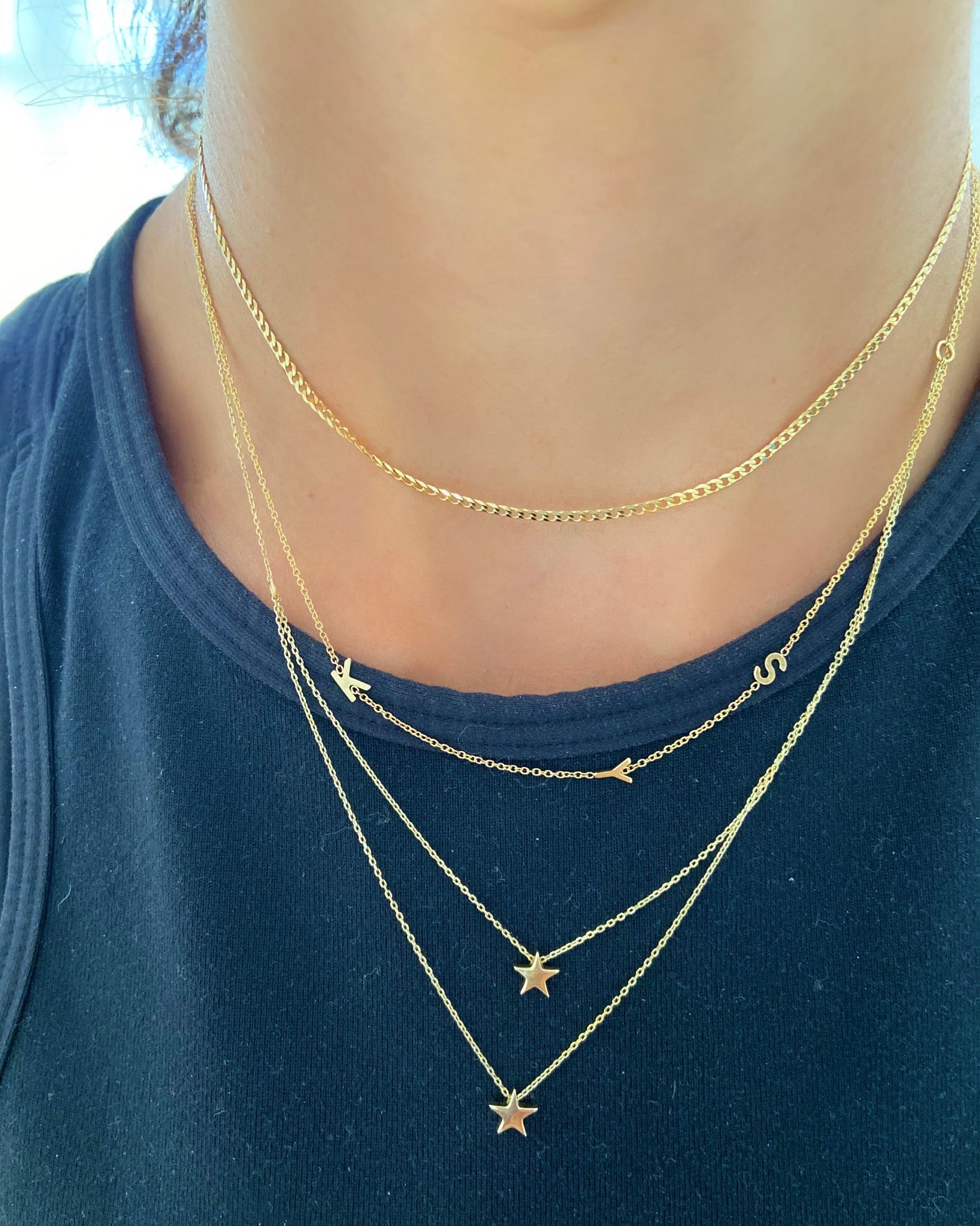 Asymmetrical Triple Initial Necklace