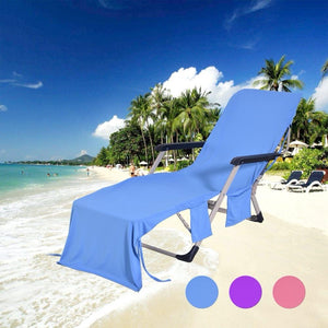 Cooling Beach Lounge Chair Cover With Pockets
