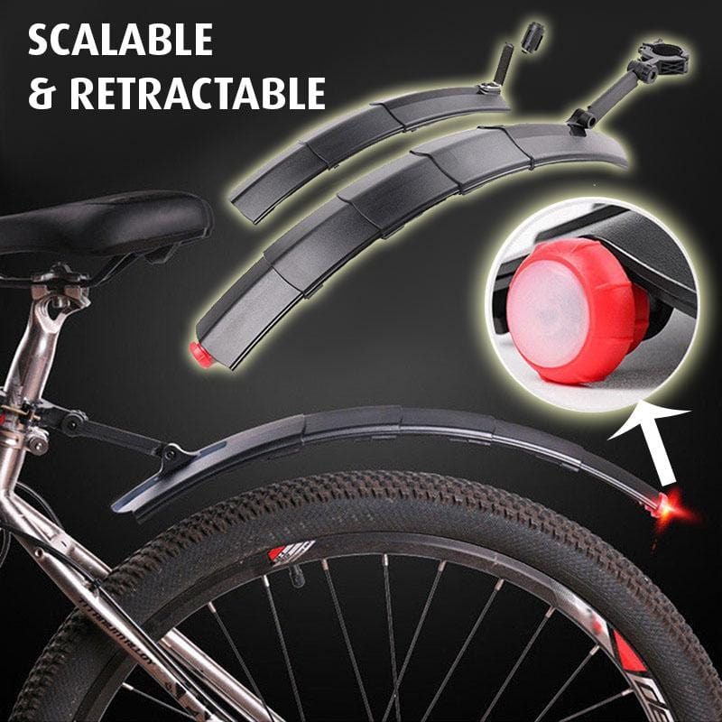 Retractable Bike Fenders Set Fender Front /& Rear Mountain Road Bike Mudguard Tyre Mud Guard with LED Light