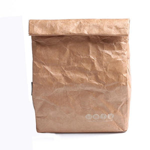 Reusable Lunch Thermos Insulated Bag Brown Paper Bag