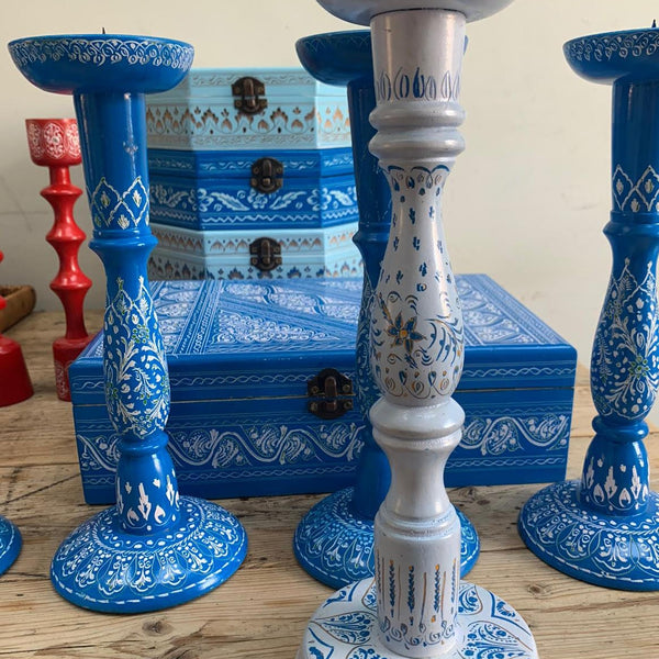 Blue Lacquered Candlestick