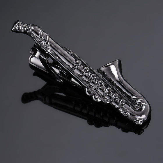 Saxophonist stainless steel suit tie clip H2