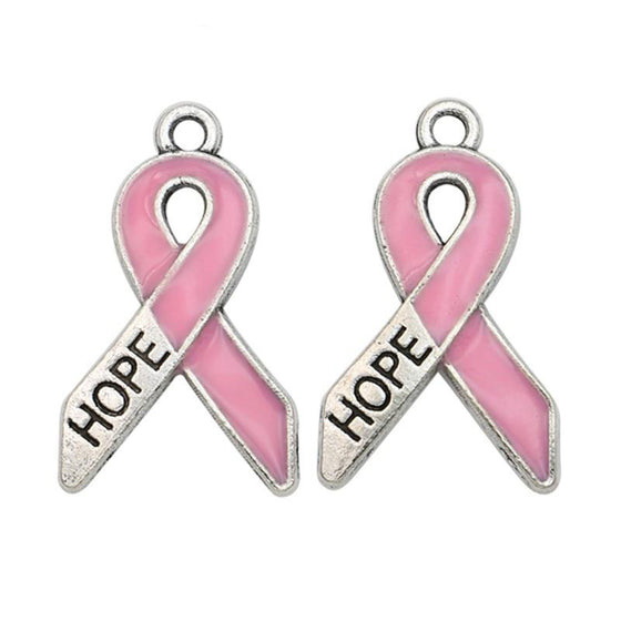 Breast cancer 10 pieces of Antique Silver Plated  Hope Charm V1