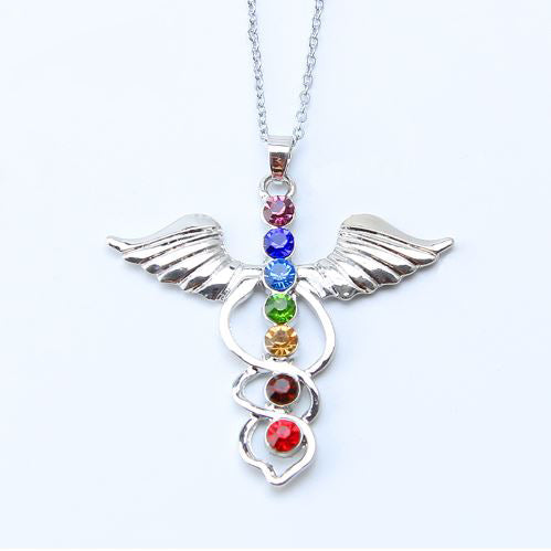 Physician Assistant 7 Colored Rhinestone Caduceus Pendant Necklace H2