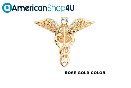 Occupational Therapist Caduceus Gold Crystal Brooch