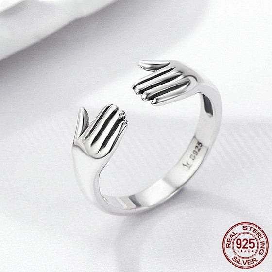 Massage Therapist 925 Sterling Silver Give Me A Hug Hand Open Finger Ring