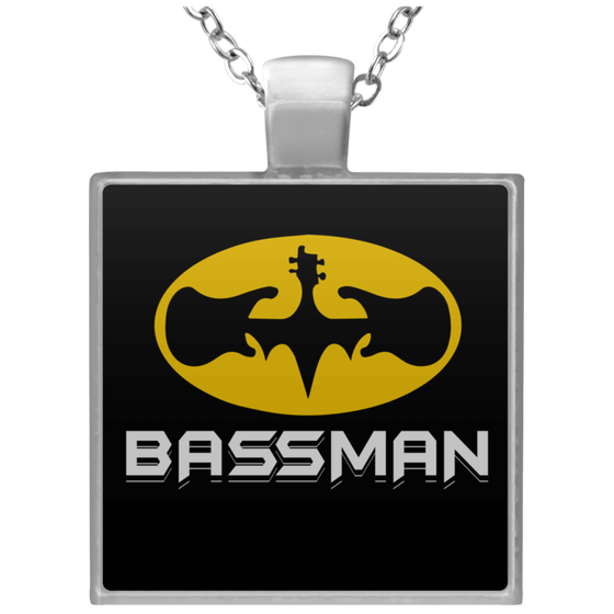 Bass Player Bassman Square Necklace T1