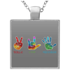 Massage Therapist- Square Necklace- Peace