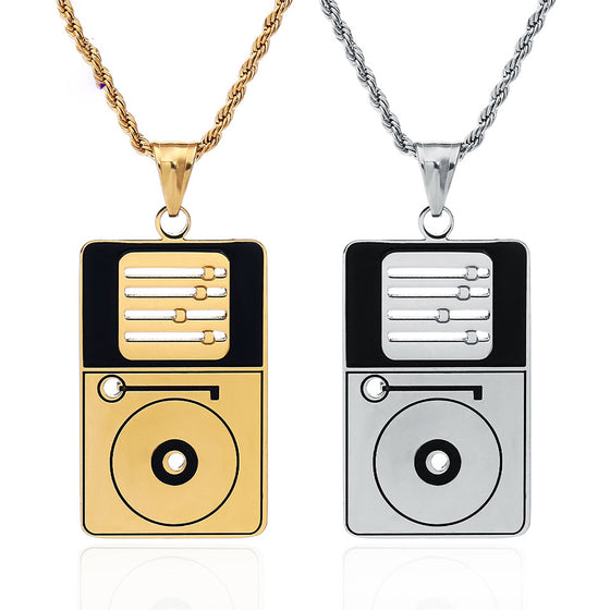 DJ Stainless Steel Jewelry Record Player Necklace H2