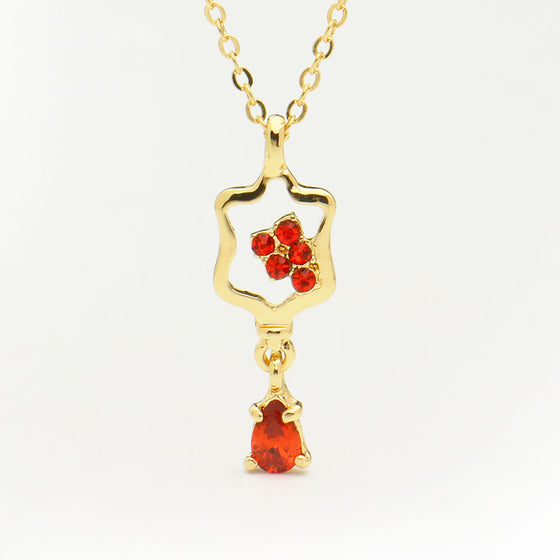 Phlebotomist Blood Drop Pendant Crystals Necklace H2