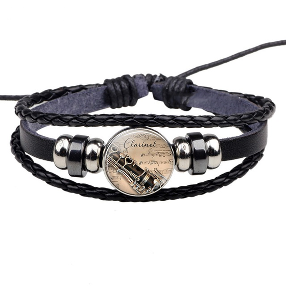 Clarinet Glass Black Braid Leather Bracelet H1