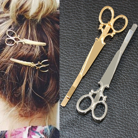 Hair Pin Gold Scissors Clip For Hairdressers