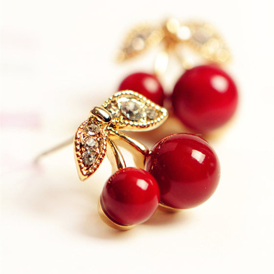 Registered Dietitian/ Nutritionist Cute Lovely Red Cherry Earrings Rhinestone Earrings