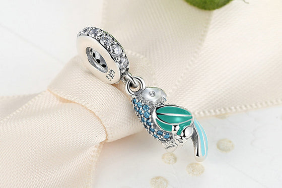 100% 925 Sterling Silver Parrot Charm Bead
