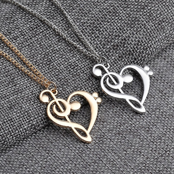 Bass Clef Heart Necklace