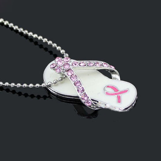 Breast Cancer Awareness Pink Ribbon Flip Flop Pendant Necklace T1