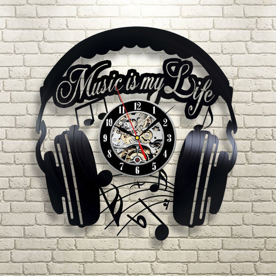 DJ Music Is My Life Vinyl Wall Clock (No Light and 7 Changeable colors)