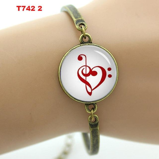 Bass Player Brand Vintage Music Heart Bracelet