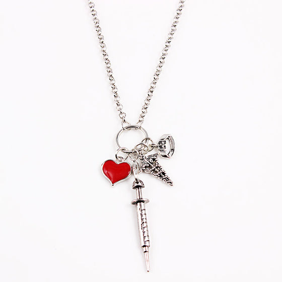 Phlebotomist Heart Syringe Pendant Charm Necklace (Length about 80cm)