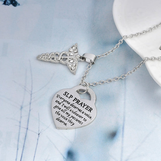Speech Language Pathologist SLP's Prayer Pendant Necklace T1