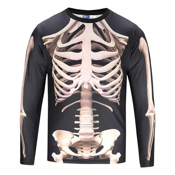 Chiropractor 3D Skeleton Long Sleeve 2 Sided Printing Asian Size S- XL T1