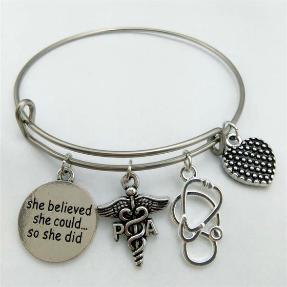 Bangle With Stethoscope & Physician Assistant Charm