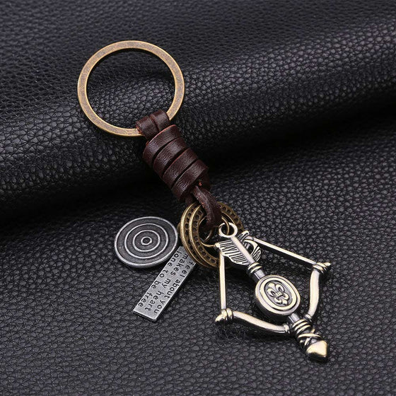 Archery Retro Bow Arrow Leather Key Chain H2
