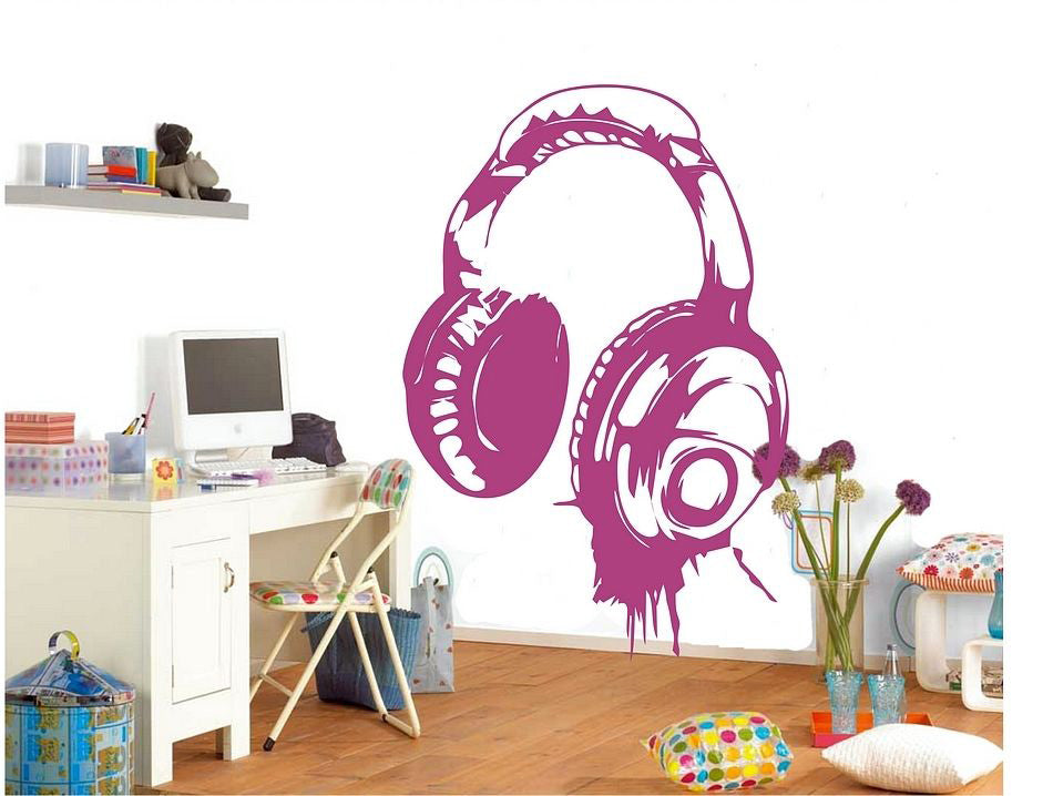 ... DJ Headphone Music Decal Stickers Wall Art Different Colors (2  Different Sizes) ...