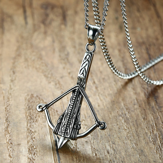 Archery Bow and Arrow Pendant Necklace H2