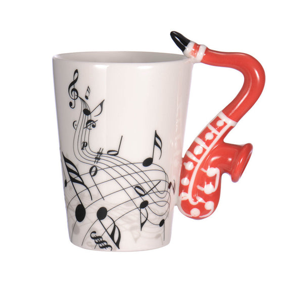 Saxophone Ceramic Coffee Mugs in Different Colors