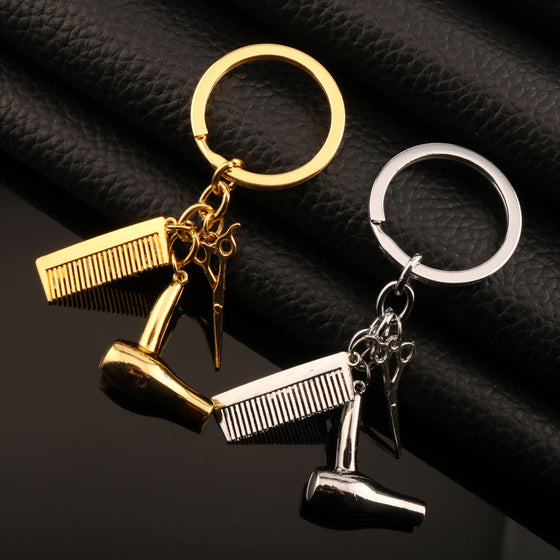 Hairdresser Hair Dryer Scissor Comb Charm Keychain