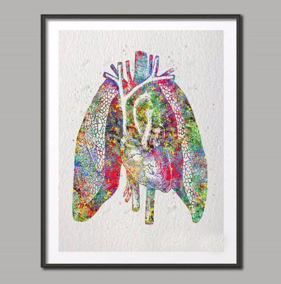 Respiratory Therapist Watercolor Human Lungs Anatomy Canvas No Frame T1 ( A3 A4 A5 Sizes)