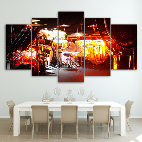 Drum Kit 5 Pieces Wall Art Prints Canvas