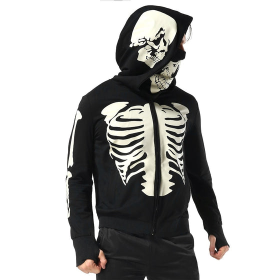 Radiologist Black Hooded Zipper Skeleton Skull Mask Gothic H1