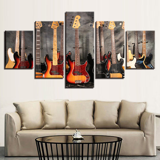 Bass Guitar 5 Pieces Collection Picture Canvas Wall Art (Framed and Unframed 4 Sizes)