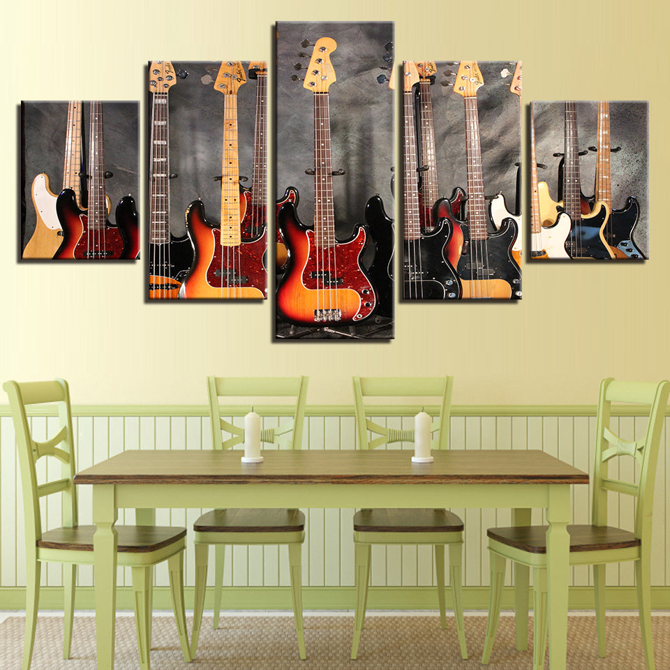 Bass Guitar 5 Pieces Collection Picture Canvas Wall Art (Framed and ...
