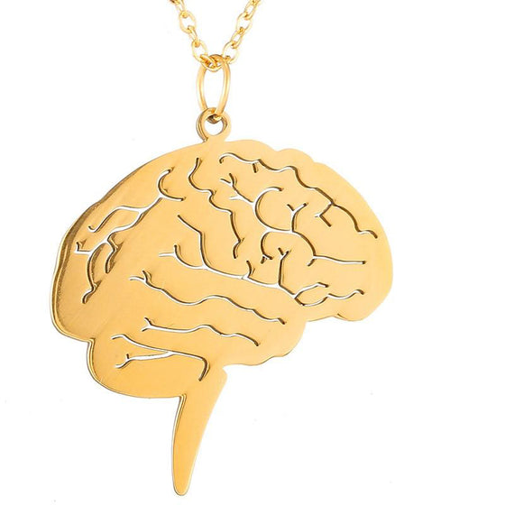 Occupational Therapist Gold Brain Stainless Steel Chain Necklace T1